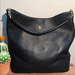 Tory Burch Black Leather Whipstitch Bag